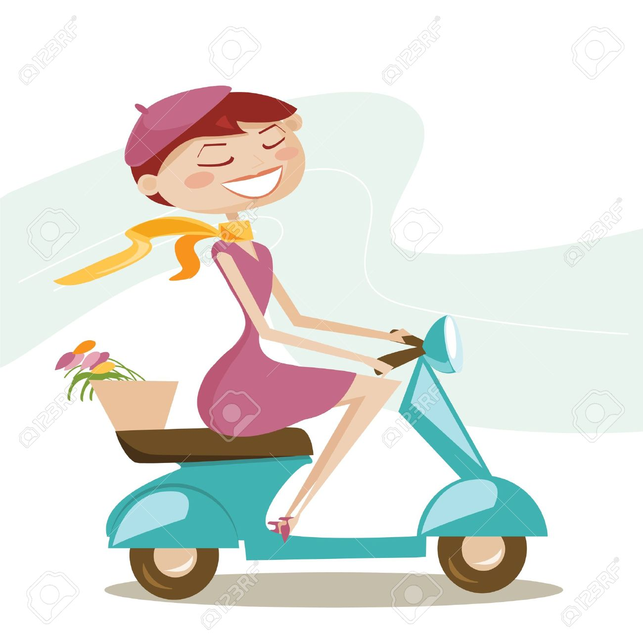 Scooter-girl-Stock-Vector-motorcycle